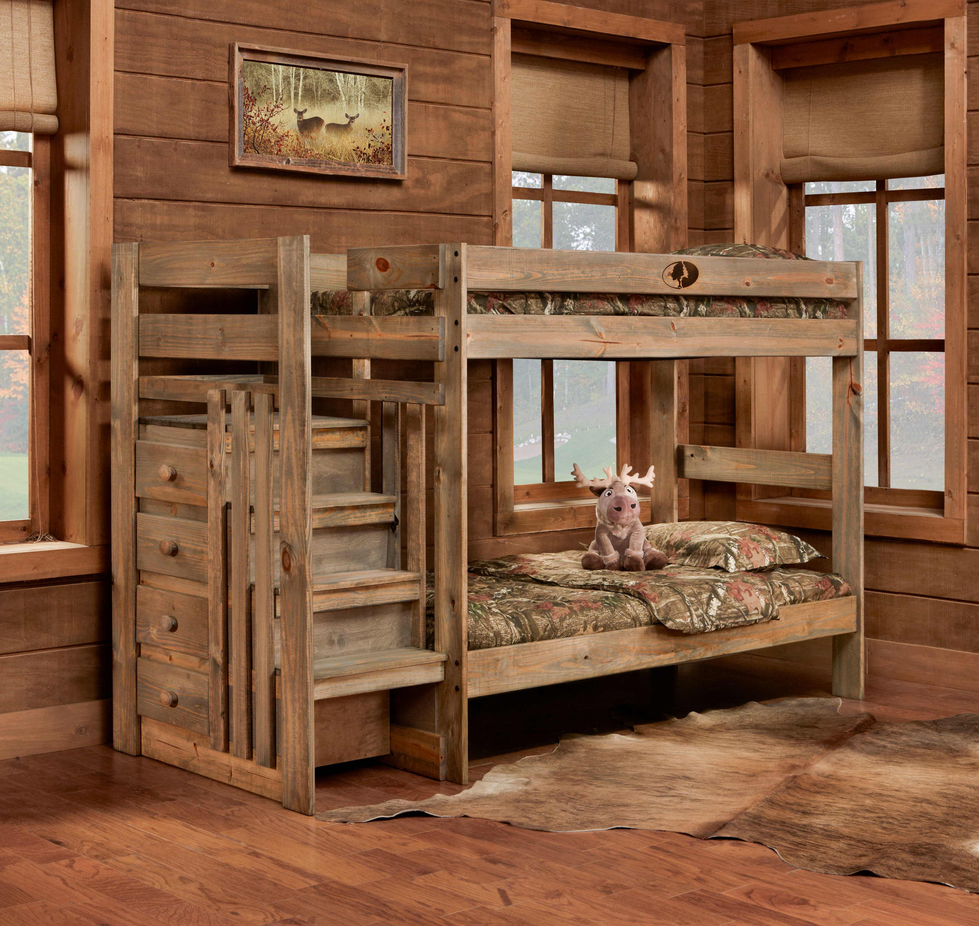 5989 Mossy Oak Twin Twin Stairstep Bunkbed Awfco Catalog