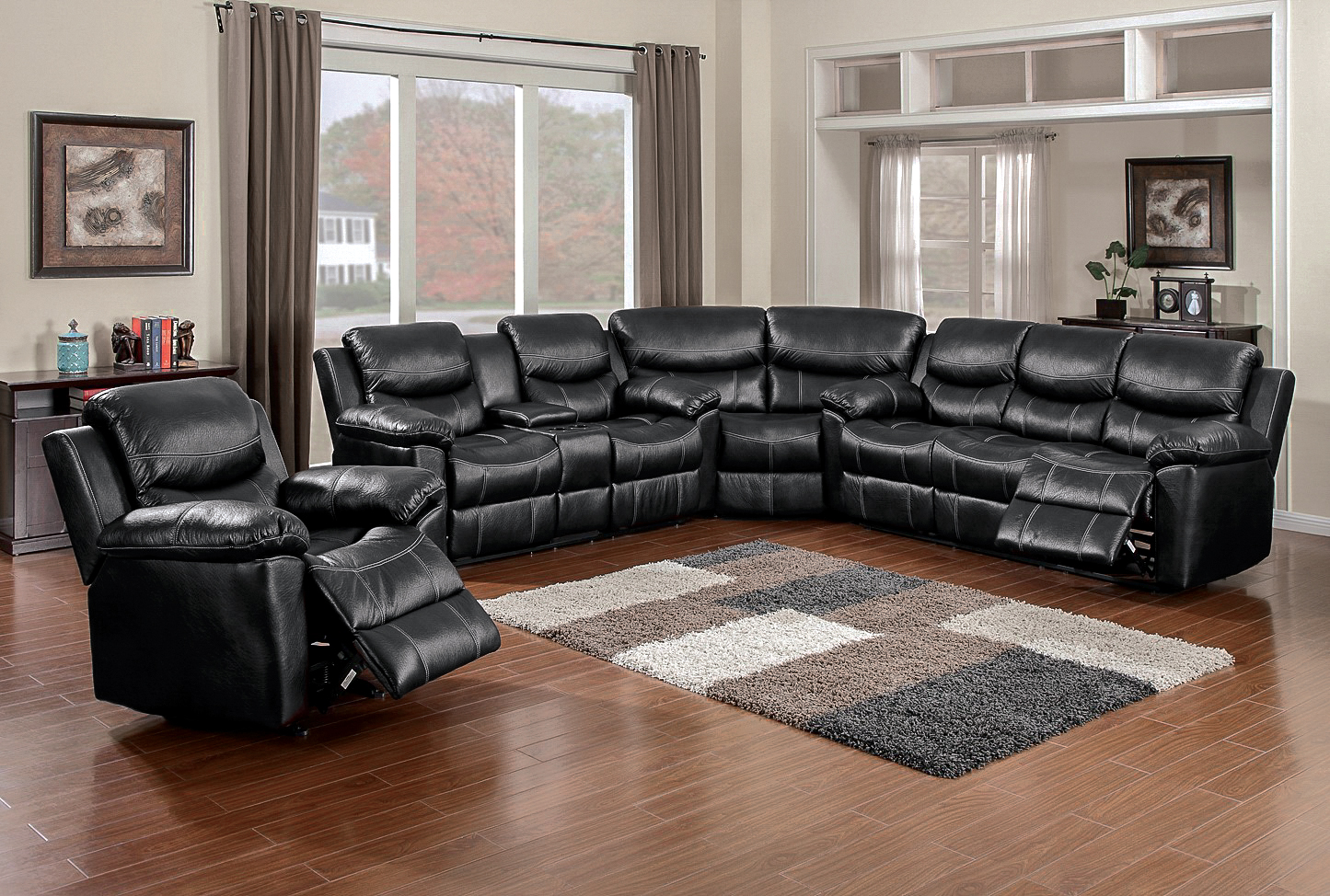 66008 Champion Black Sectional Awfco Catalog Site