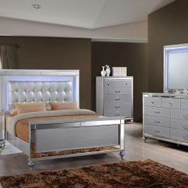 B9698 Valentino Silver Lighted Bedroom