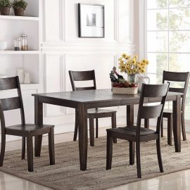 8204 Wirebrush Dark Oak Leg Table