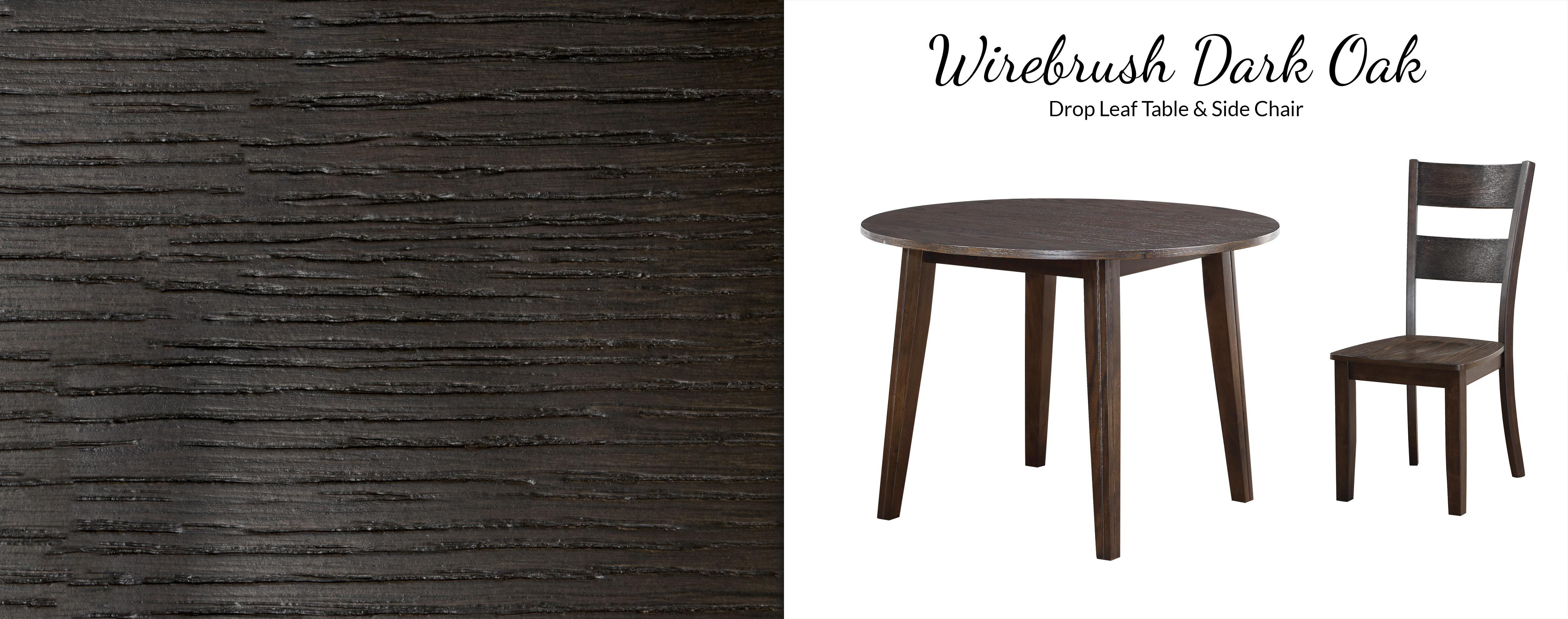 8204 Wirebrush Dark Oak Drop Leaf Table Awfco Catalog Site